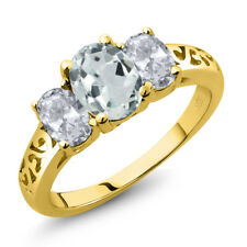 2.10 Ct Oval Sky Blue Aquamarine White Topaz 18K Yellow Gold Plated Silver Ring