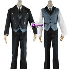 Black Anime Cosplay Costume Butler/Kuroshitsuji Sebastian Mi Clothing Suit Skirt