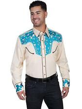 Scully Western Mens Shirt Long Sleeve Snap Embroidered Snap P-680