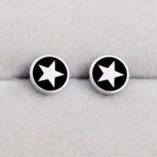 Round Barbell 361L Stainless Steel Men's Earring Punk Gothic Ear Studs Piercing