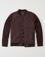 Abercrombie & Fitch Mens Sweater Knit Bomber Jacket Cardigan L XL Burgundy NWT