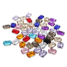 50pcs 13*18mm Acrylic faceted Rhinestone Buttons Multi-colour for DIY Craft