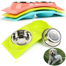 2 in l Pet Dog Cat Puppy Food Feeder Water Drinker Stainless Steel Double Bowls