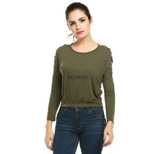 Women Casual Cut Out Cold Shoulder Long Sleeve High Low Hem Blouse Top OO5502
