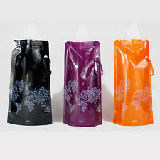 New Foldable Portable Sport Water Bottle Fashion Safety Hiking Cup Bag 480ML