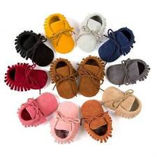 Small Boy Girl Baby Shoes Infant Toddler Tassel Leather Cotton 0-18M AU