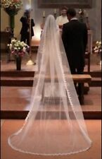 1 Layer white Ivory Bridal 3m Cathedral Lace Edge Bridal Wedding Veil With Comb