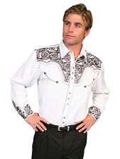 Scully Mens Embroidered Western Shirt Pewter Perl Snap P-634