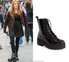 Jeffrey Campbell Finnick Black Box Heavily Lugged Platform Sole Moto Ankle Boot