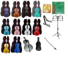 NEW STUDENT CELLO,BOW,Hard Case,Carrying Soft Bag+2 Stands+Tuner+Rosin+Strings