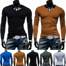 UK Stylish Mens V Neck Casual Cotton Shirt Slim Tee Tops Pure Solid T-shirt Hot