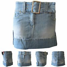Womens New Casual Belt Buckle Turn Up Denim Shorts Mini Skirt Ladies Jeans