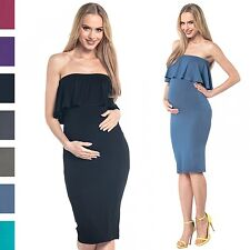 Happy Mama. Women's Maternity Strapless Layered Pencil Stretch Midi Dress. 571p