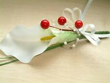 Wedding Flowers - Ivory Calla Lily & Red Berry Buttonhole, Ladies Corsage Groom