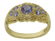 Solid 14K Yellow Gold Natural Tanzanite Vintage Style Band Ring