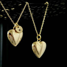 Gold Initial Heart Locket Personalized Layering Necklace