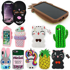 NEW 3D Cute Cartoon Soft Silicone Back Cover Case For Apple iPhone 7 Plus 6 5 SE