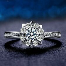 18K White Gold GP Austrian Crystal Lady wedding Ring Silver Ring Band