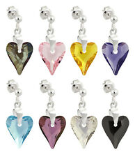 Sterling Silver Earrings Stud Posts with SWAROVSKI 6240 Wild Heart 12mm Crystals