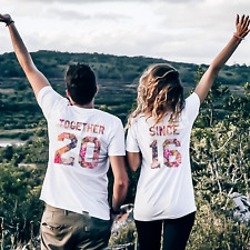 Together Since T-Shirts Flower Print Couple Matching Shirts Love Family Clothes