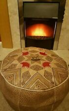 Moroccan Leather pouffe, neutral with red accents and camel design