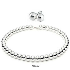 Bling Jewelry Sterling Silver 10mm Bead Necklace Ball Earrings Jewelry Set