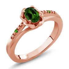 0.46 Ct Oval Green Chrome Diopside Green Simulated Tsavorite 14K Rose Gold Ring