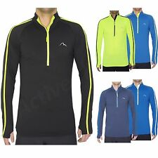 More Mile Mens Hi Viz Long Sleeve Running Cycling Zip Top Dri Fit Sports T Shirt