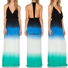 Sexy Women V-Neck Sleeveless Backless Gradient Long Maxi Dress OO5501