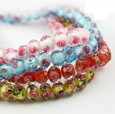 20pcs Flower Inside Faceted Rondelle Lampwork Czech Glass Spacer BEADS 10MM