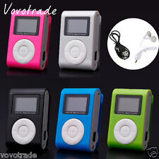 Mini Clip MP3 Player LCD Screen Support 32GB Micro SD TF Card +Headset +USB