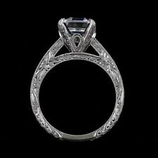 To fit 8x8 mm Asscher Stone Diamonds Hand Engraved  Engagement Ring Setting