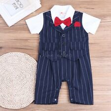 Baby Boy Wedding Christening Formal Party Tuxedo Romper Jumpsuit Outfit Clothes