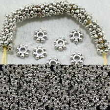 100pcs/400pcs Findings Tibetan Silver Spacer Beads Daisy Chic Jewelry 4mm/6mm