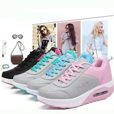 Woman Lace Up Platform High Heel Wedge Sneakers Sports Fashion Trainers Shoes FW
