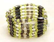 SALE 4-5mm White Natural Pearl with Green Crystal & Hematite 36'' Bracelet-br364