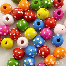 100/500pcs Mixed Colour Round Shape With Dots Wooden Beads Eco-friendly Paint—B