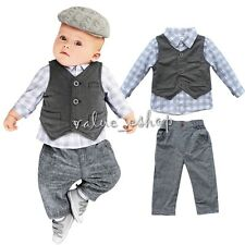 Toddler Newborn Baby Boy Grey Waistcoat T-shirt Tops+Pants Outfits Set Clothes