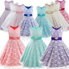 Lace Girls Flower Wedding Bridesmaid Dress Princess Formal Party Prom Ball Gown
