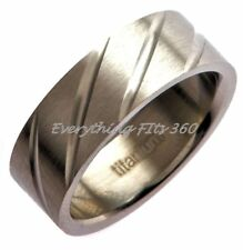 Titanium Wedding Ring Band Diagonal Grooves 8mm Wide GREAT DEAL