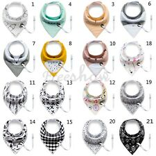 Infant Baby Girl Boy Soft Cotton Bandana Drool Bibs Gift Pacifier Clips Holders