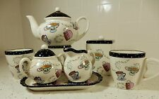 Ganz TEA TIME POT / MUGS/ sugar & creamer / Tea Jar 5 pcs SET  NEW