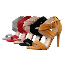 Chic Solid High Heel Summer Open Toe Sandal Strappy Stiletto Buckle Womens Shoes