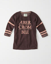 Abercrombie & Fitch Womens Logo Graphic Pullover Sweater Burgundy XS or M NWT