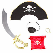 Kids Pirate Sword Eyepatch Earring Coin Pouch Hat Set Fancy Dress Accessories