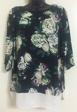 NEW Ex DP: Navy Floral Roses Print Chiffon Smart Casual Blouse Top Size 10-18
