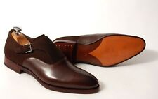 New Handmade brown formal shoes Men brown suede and leather dress monk shoes