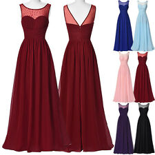 Long Ball Gown Formal Bridesmaid Evening Party Cocktail Chiffon Celebrity Dress☇