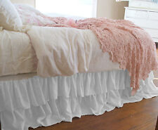 """15"""" Drop Double Layer Ruffle Bed Skirt 800TC EgyptianCotton Twin/Full/Queen/King"""