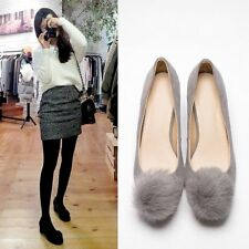Womens Ladys Sweet Chic Pom Pom Suede Cylinder Mid Heel Casual Pump Shoes New